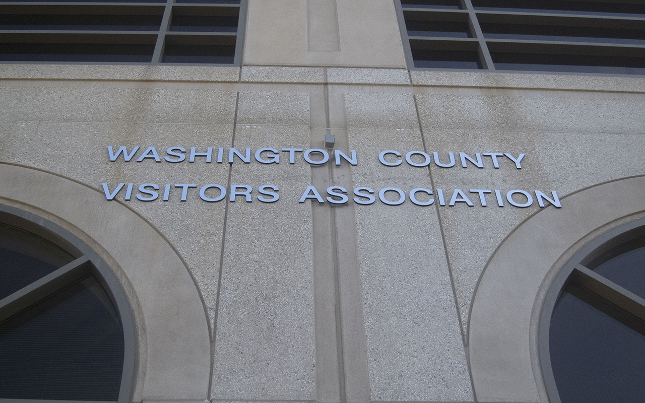 Washington County Visitors Association sign on a building