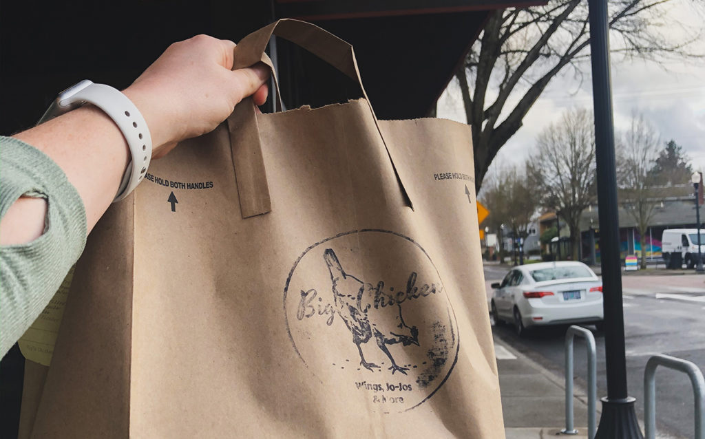 takeout bag from Bigs Chicken in Beaverton